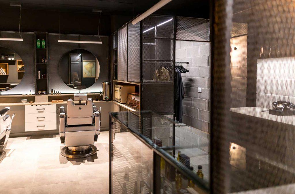 fotografía interiorismo comercial de Barbería industrial en Vigo